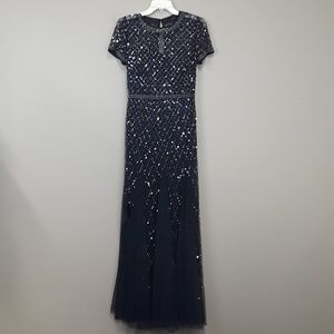 NWT Adrianna Papell Navy Cap Sleeve Beaded Gown
